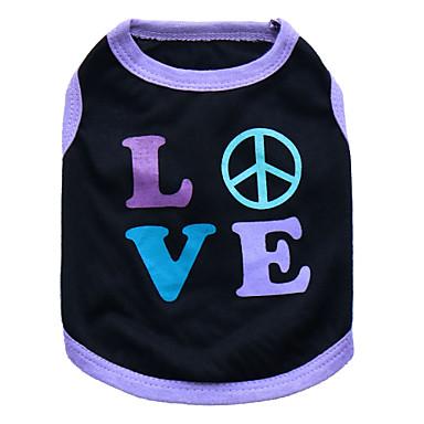 Chat Chien Tee-shirt Vêtements pour Chien Cœur Noir et Violet Rose Coton Costume Pour les animaux domestiques Homme Femme Mode