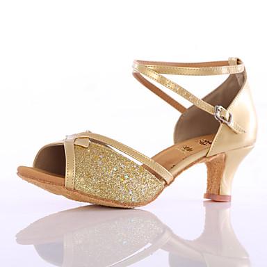 Mujer Zapatos de Baile Latino Brillantina Sandalia Lentejuela Tacón Personalizado Personalizables Zapatos de baile Azul / Rosa / Dorado / Interior / Cuero