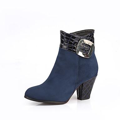 Feminino Sapatos Courino Primavera Outono Inverno Botas da Moda Botas Salto Grosso Botas Curtas / Ankle Para Casual Preto Azul Vinho