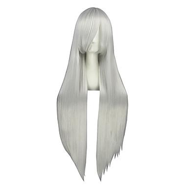 פאות קוספליי Vocaloid Haku כסף ארוך אנימה פאות קוספליי 100 CM סיבים עמידים לחום זכר / נקבה