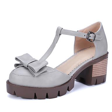 kvinners sko pu sommer / komfort hæler utendørs / uformell chunky hæl bowknot / spenne svart / brun / grå