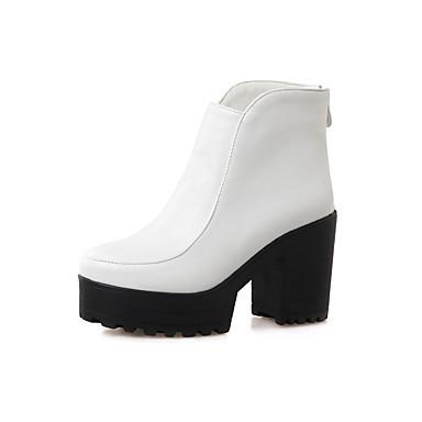 女性-アウトドア オフィス カジュアル-レザーレット-チャンキーヒール プラットフォーム-プラットフォーム ファッションブーツ-ブーツ-ブラック イエロー ホワイト グレイ