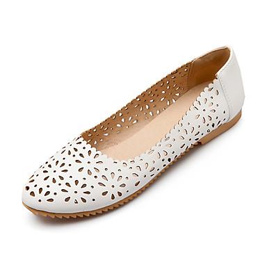 נשים נעליים דמוי עור אביב קיץ סתיו נוחות עקב שטוח עבור קזו'אל שמלה לבן שחור כחול ורוד