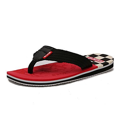 Herren Cloggs & Pantoletten Slippers & Flip-Flops Stoff Sommer Normal Walking Flacher Absatz Orange Gelb Rot