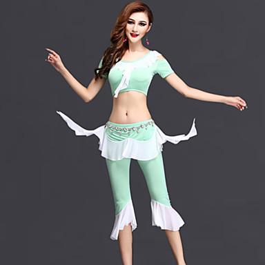 Dança do Ventre Roupa Mulheres Apresentação Elastano Tule Pano Manga Curta Natural Blusa Saia