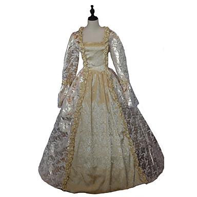 Gotisk Lolita Steampunk® Victoriansk Blonde Satin Dame Kjoler Cosplay Blomstret Langermet Lang Lengde