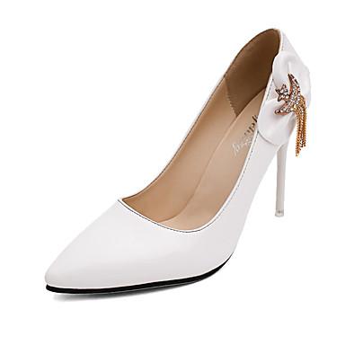 Femme Chaussures Similicuir Automne Chaussures à Talons Talon Aiguille Cristal Noeud pour Décontracté Soirée & Evénement Blanc Noir Rouge