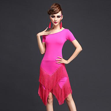 Latein-Tanz Kleider Damen Leistung Chinlon Quaste Kurze Ärmel Normal Kleid
