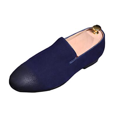 Homens sapatos Flanelado Verão Conforto Mocassins e Slip-Ons para Casual Preto Cinzento Azul
