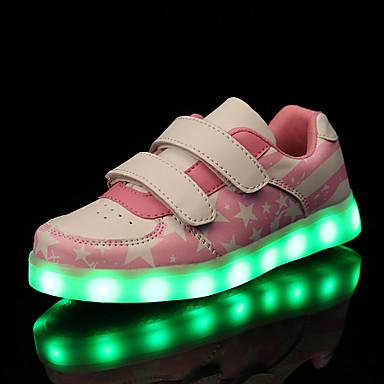 Para Meninos Para Meninas-Tênis-Light Up Shoes Conforto-Rasteiro-Rosa Vermelho Azul Marinho-Couro Ecológico-Ar-Livre Casual Para Esporte