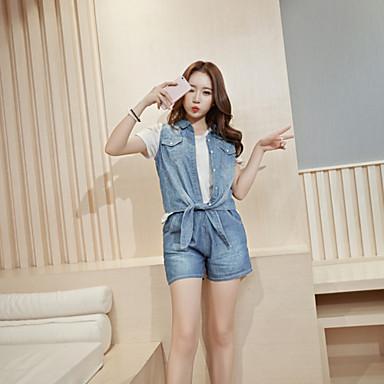 Feminino Jaqueta jeans Casual Moda de Rua Primavera Verão,Sólido Curto Algodão Colarinho de Camisa