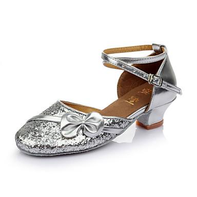 Damen Schuhe für den lateinamerikanischen Tanz Paillette Sandalen Schleife Maßgefertigter Absatz Maßfertigung Tanzschuhe Rot / Rosa /
