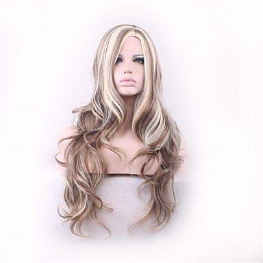 Perucas sintéticas Encaracolado Cabelo Sintético Peruca Mulheres preto peruca Sem Touca