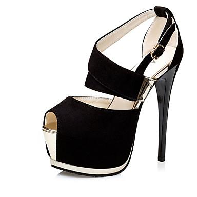 Mulheres Sapatos Flanelado Verão Sandálias Salto Agulha Cinzento / Vermelho / Rosa claro