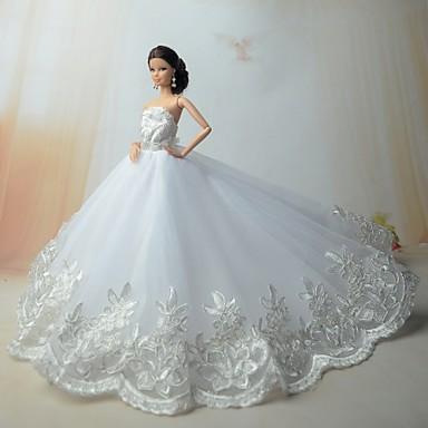 חתונה שמלות ל ברבי דול תחרה אורגנזה שמלה ל הילדה של בובת צעצוע