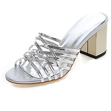 Feminino Sapatos Courino Verão Outono Salto Grosso Com Para Casual Social Prata Rosa claro Dourado