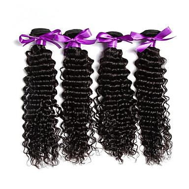 Ekte hår Malaysisk hår Menneskehår Vevet Dyp Bølge Hårforlengelse 1 Deler Naturlig Farge