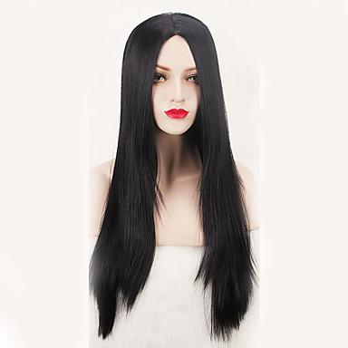 女性 人工毛ウィッグ キャップレス ロング丈 ストレート ブラック コスチュームウィッグ
