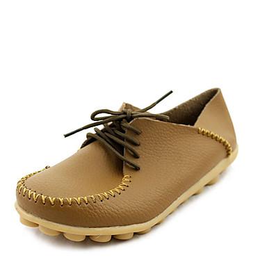 נשים נעליים PU קיץ סתיו נוחות שטוחות שטוח שרוכים עבור שחור כתום חום אדום