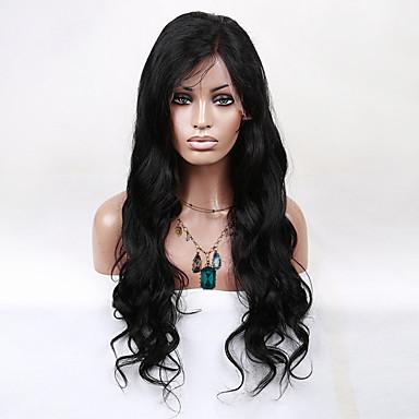 Kvinder Blondeparykker med menneskehår Ekte hår Blonde Forside Halvblonder uten lim 130% tetthet Krop Bølge Parykk Naturlig Farge Jet