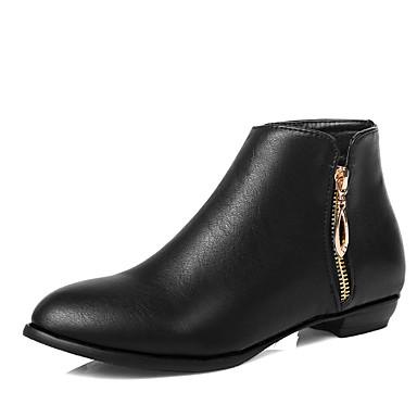 Støvler-Kunstlæder-Modestøvler-Dame-Sort Mandel-Udendørs Kontor Fritid-Lav hæl