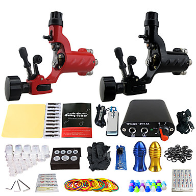 Complete Tattoo Kit 2 rotary machine liner & shader 2 alloy machine liner & shader 2 Tattoo Machines Mini power supply Inks Shipped