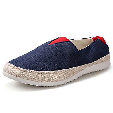 Miesten kengät Pellava Talvi Kevät Comfort Mokkasiinit varten Kausaliteetti Tumman sininen Harmaa Vihreä Vaalean sininen