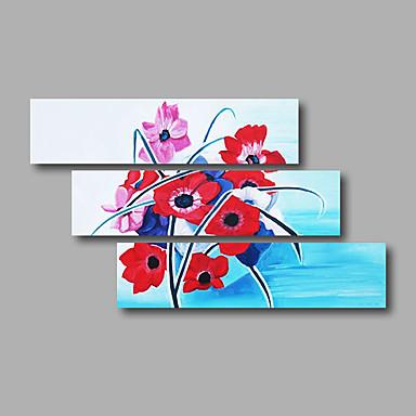 Hånd-malede Abstrakt / Blomstret/Botanisk Oliemalerier,Moderne Tre Paneler Canvas Hang-Painted Oliemaleri For Hjem Dekoration