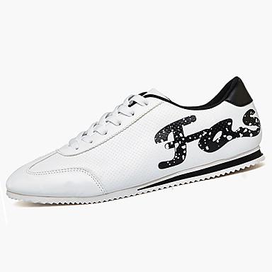 Herrer Sneakers Komfort PU Forår Vinter Afslappet Gang Komfort Snøring Flad hæl Hvid Sort Rød Flad