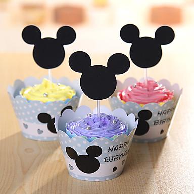 Verjaardag Feest tafelgerei-Cupcakewikkels Taartaccessoire Label Hard Kaart Paper rustieke Theme