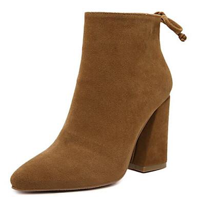 Støvler-Fleece-Ridestøvler-Dame-Sort Brun-Udendørs Fritid-Tyk hæl