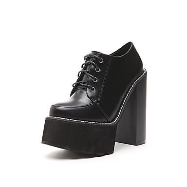 Bootsit-Leveä korko-Naisten-PU-Musta / Ruskea-Puku-Pyöreäkärkiset / Bootie