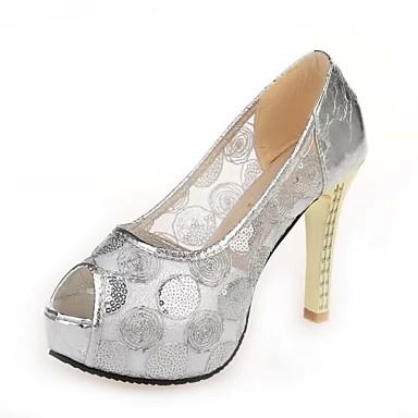 Dame Høye hæler Polyester Vår Sommer Høst Formell Blondesøm Tykk hæl Sølv Gylden 7,5 - 9,5 cm