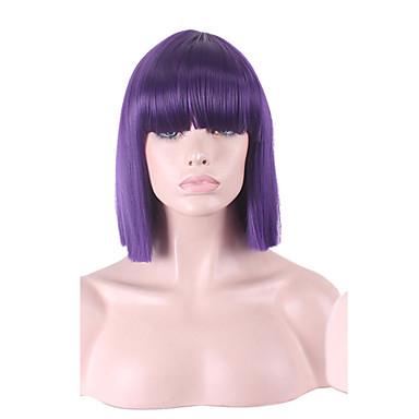 Naisten Synteettiset peruukit Lyhyt Keskikokoinen Suora Vaaleahiuksisuus Sininen Harmaa Tumman ruskea New Purple Bob-leikkaus capless