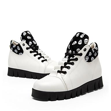 Mulheres Sapatos Couro Outono / Inverno Conforto / Bailarina / Botas da Moda Botas Salto Plataforma Branco / Preto / Festas & Noite