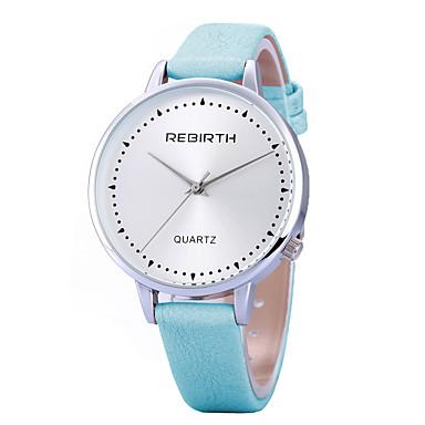 REBIRTH Damen Armbanduhr Modeuhr Armbanduhren für den Alltag Quartz / Schlussverkauf PU Band Freizeit Minimalistisch Schwarz Weiß Blau