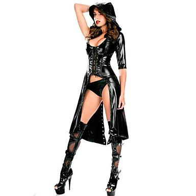 Cosplay Cosplay Kostumer Festkostume Herre Dame Sexede Uniformer Flere Uniformer Jul Halloween Karneval Festival / Højtider Pels Udklædning Sort Ensfarvet
