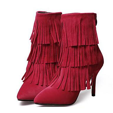 Støvler-Fleece-Ridestøvler-Dame-Sort Rød-Udendørs Fritid-Stilethæl