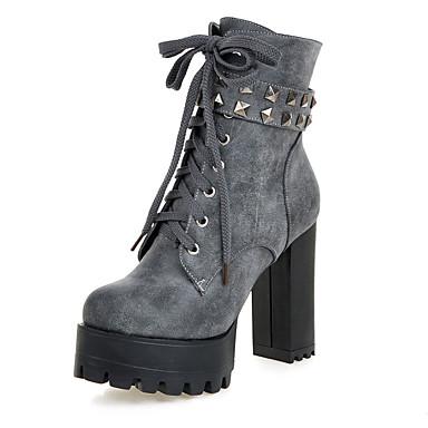 Mulheres Sapatos Courino Outono / Inverno Botas da Moda / Coturnos Botas Caminhada Salto Robusto / Plataforma / Salto de bloco Tachas /
