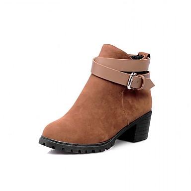 Feminino-Saltos-Botas de Cowboy Botas Montaria Botas da Moda-Salto Grosso-Preto Vermelho Amêndoa-Sintético Couro Envernizado Courino-