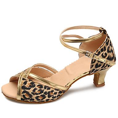 Damen Latin Modern Satin Absätze Praxis Innen Verschlussschnalle Stöckelabsatz Leopard Maßfertigung