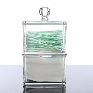 Acryl tragbaren Koffer runden Behälter Speicherorganisatorkasten Wattestäbchen Baumwolle Box für Heim Hotel Büro bilden