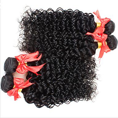 Menneskehår, Bølget Brasiliansk hår Kinky Krøller 4 Dele hår vævninger