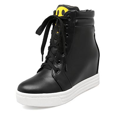 Naiset Kengät Tekonahka Syksy Talvi Bootsit Korokekengät Solmittavat Käyttötarkoitus Kausaliteetti Puku Valkoinen Musta