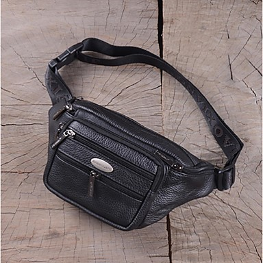 Men s Bags Cowhide Fanny Pack Zipper Black   Brown 0f5baebfee0b0