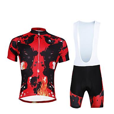 ILPALADINO Herre Kortærmet Cykeltrøje og shorts med seler - Rød Cykel Tøjsæt, 3D Måtte, Hurtigtørrende, Ultraviolet Resistent, Åndbart,