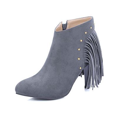 Sort / Grå-Stilethæl-Kvinders Sko-Ridestøvler / Modestøvler-Kunstlæder-Udendørs / Kontor / Hverdag-Støvler