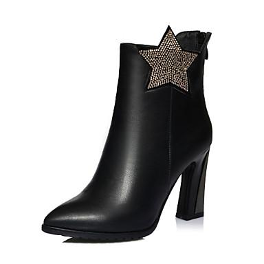 Støvler-Læder-Hæle / Spids tå / Modestøvler-Dame-Sort-Formelt / Hverdag / Fest/aften-Tyk hæl