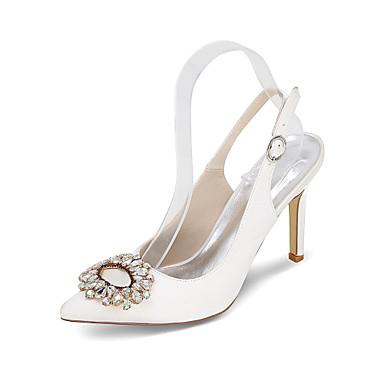 Damen Schuhe Satin Seide Frühling Sommer High Heels Stöckelabsatz Strass für Hochzeit Party & Festivität Blau Rosa Golden Champagner