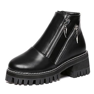 Støvler-Kunstlæder-Ridestøvler-Dame-Sort Grå-Udendørs Fritid-Platå Creepers